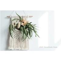 net pocket tapestry hand woven macrame wall hanging art bohemian crafts for flower room decoration bedroom livingroom 2548cm