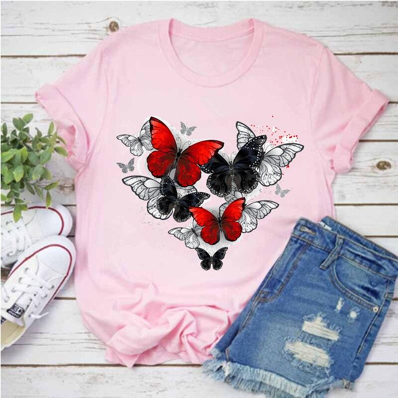 Camiseta Para Mujer Harajuku Con Estampado De Mariposa Roja Y Negra Camiseta...