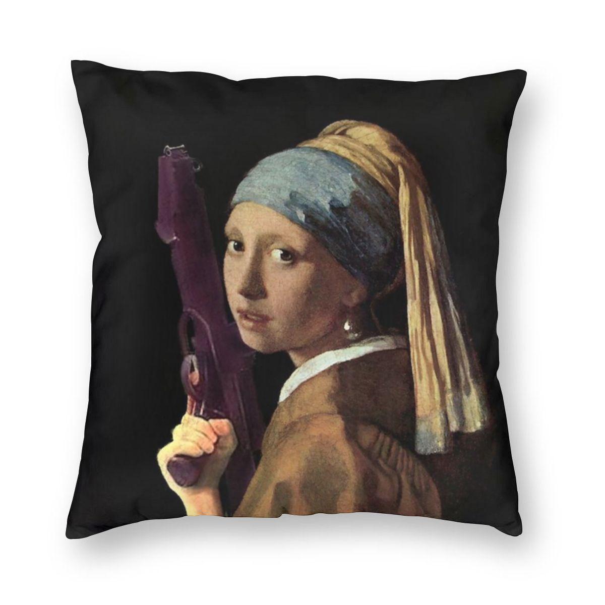 Menina com uma pérola brinco segurando um ray gun johannes vermeer fronha decoração arte capa de almofada lance travesseiro para o sofá