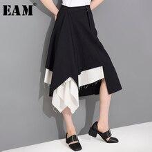 [EAM] taille haute noir blanc irrégulier bavure fendu Joint demi-corps jupe femmes mode marée nouveau printemps été 2020 1T66601