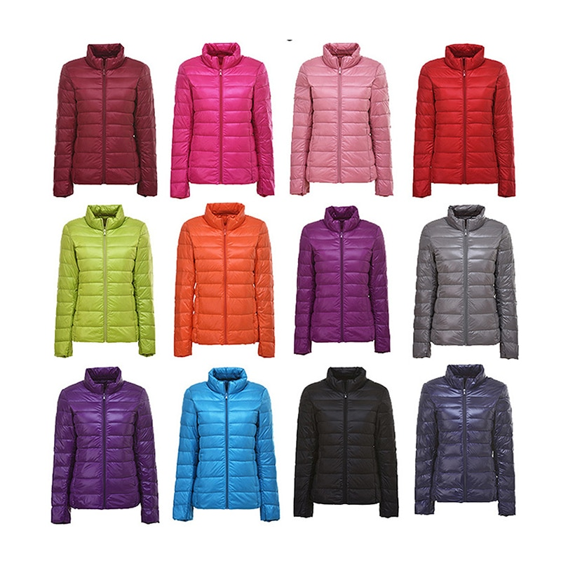 Winter Women 90% Ultra Light Down Jacket White Duck Down Hooded Jacket Long Sleeve Warm Coat Parka F