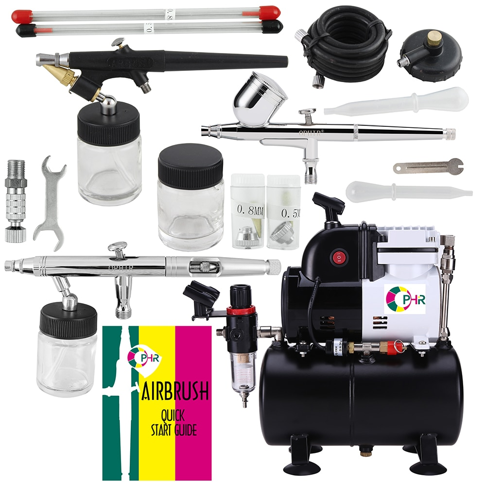OPHIR 3 Airbrush & Compressor Kit Dual Single Action Spray Air Brush Set with 3L Tank for Tattoo Model Hobby AC116+004A+071+093