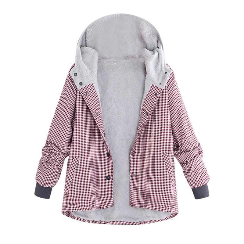 Jaycosin 2019 das mulheres inverno quente outwear xadrez malha com capuz bolsos vintage oversize casacos nova chegada nova moda casacos
