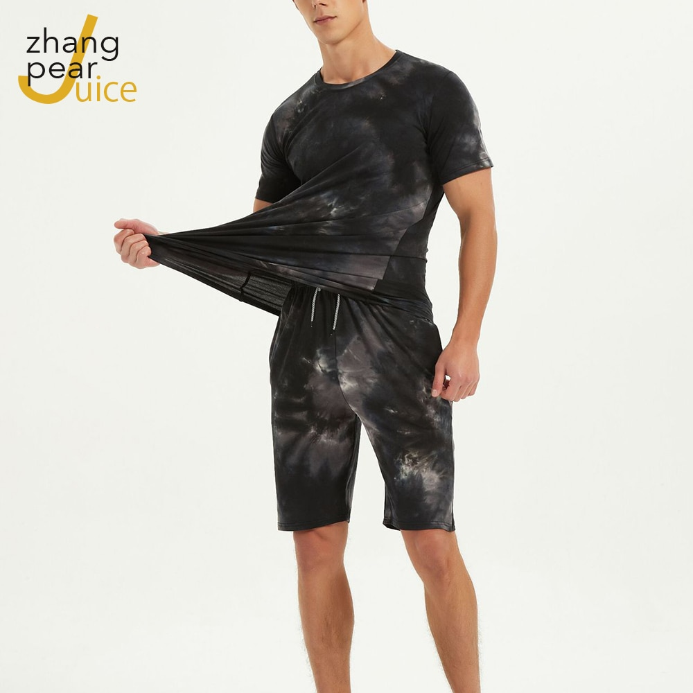 الصيف الرجال رياضية مطبوعة قطعتين مجموعة الرجال مجموعة س الرقبة تي شيرت السراويل ملابس فضفاضة وتتسابق