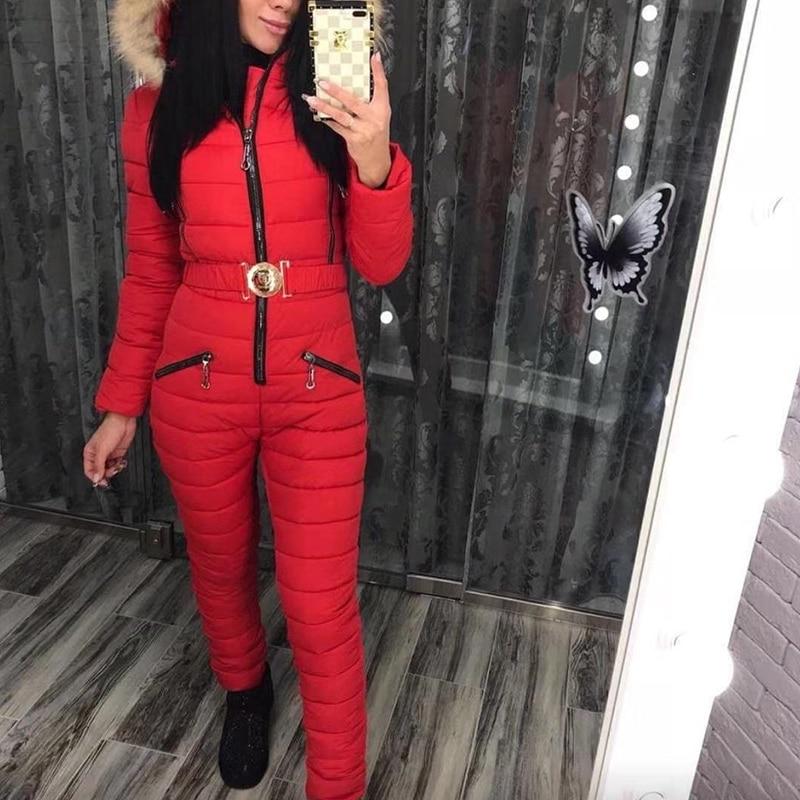 جاكيت شتوي مع قبعة وياقة فرو كبيرة ؛ بدلة تزلج من قطعة واحدة مقاومة للرياح ، سروال قطني بارد ودافئ 2020