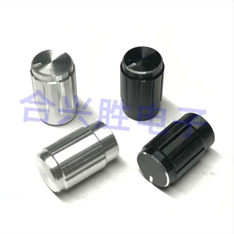 10*16mm alumínio preto prata áudio walkie-talkie botão d eixo/flor eixo potenciômetro codificador chapéu