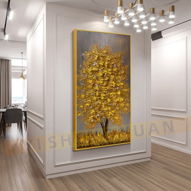100% New Handmade Large Gold money Tree Painting Modern landscape Oil Painting On Canvas Wall Art Picture For Home Office Decor 10