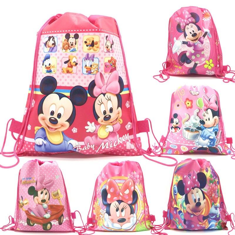 Mochila ligera y portátil con dibujo de Minnie Mouse, 12 Uds., ideal para el colegio, para regalo
