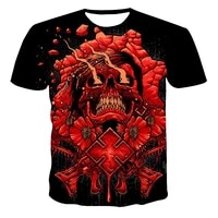 new product hot sale mens summer t shirt skull print short sleeve 3d tee casual breathable season hip hop tops customization