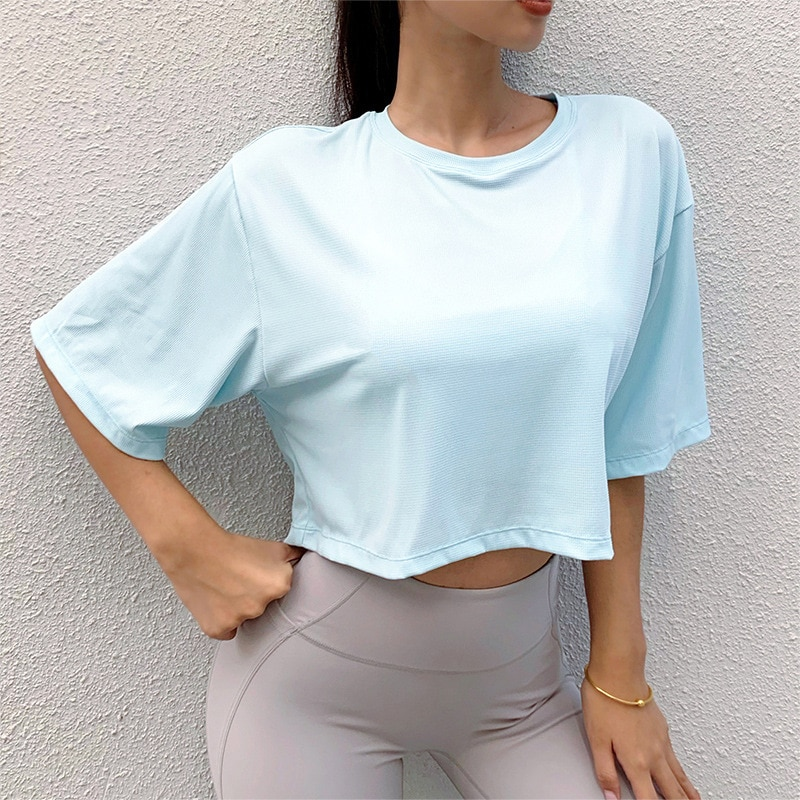 10PCS Wholesale Women's Loose Sport Tops Running Fitness Quick-drying Gym T-shirts  Short Sleeve Yoga Sportswear