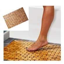 Teck bois tapis de bain pieds douche sol bambou naturel antidérapant grand