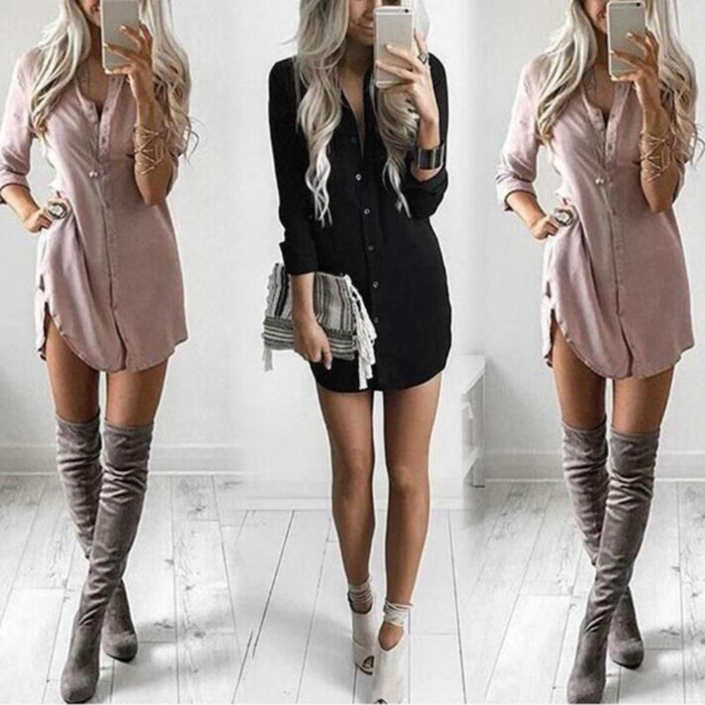 Women Autumn Solid Color Long Sleeve Lapel Collar Buttons Loose Shirt Mini Dress Print Turn-down Collar Blouse Shirt Casual Tops