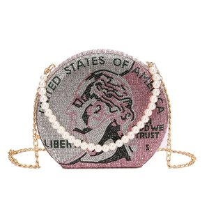 Luxury Diamond Dollar Coin Design Party Clutch Bag Purses and Handbags for Women Pearl Handle Evening Bag Shoulder Chain Bag