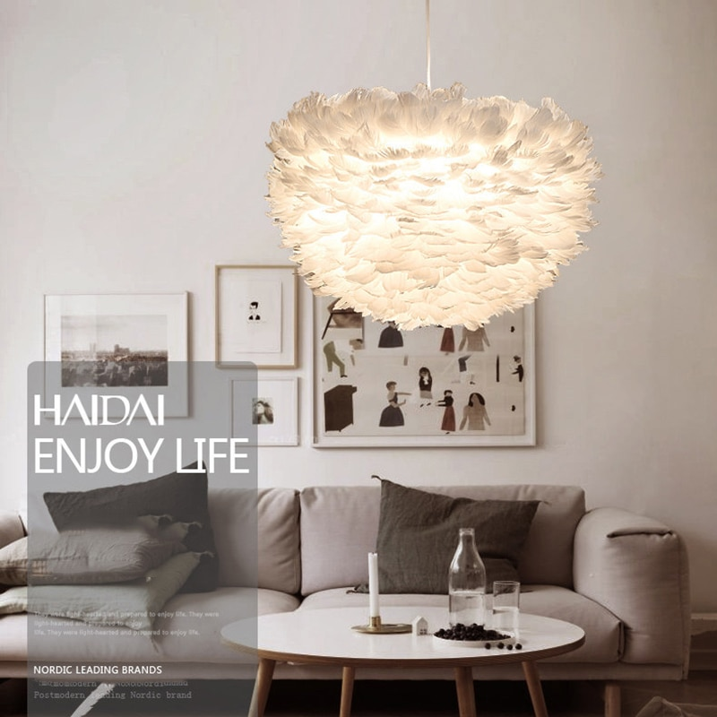 Modern white nature Goose feather Pendant Lights romantic E27 led pendant lamps for home lighting restaurant bedroom living room  - buy with discount