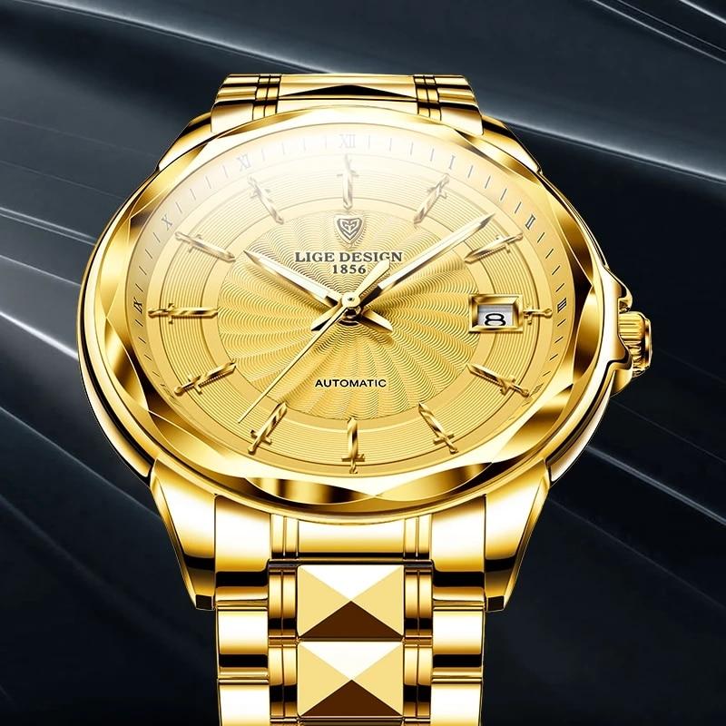 LIGE Men Automatic Mechanical Watches Luxury Brand Business Tungsten Steel Waterproof WristWatch Men Fashion Clock reloj hombre