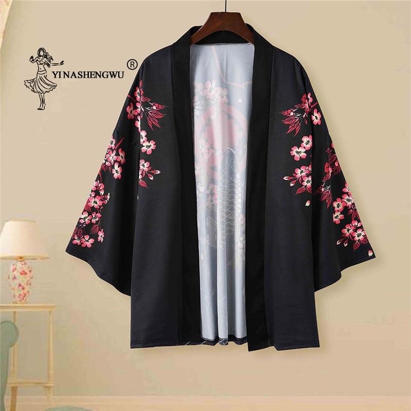 Kimono Cardigan Cosplay disfraz Yukata mujeres Kimono japonés verano tradicional estampado de carpa camisa suelta Casual abrigo Kimono Mujer