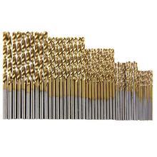 Outil de jeu de forets en acier haute vitesse HSS revêtu de titane 50 pièces 1/1.5/2/2.5/3