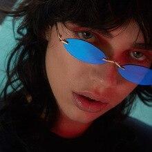 Retro Kleine Oval Sonnenbrille Frauen Vintage Marke Shades Schwarz Rot Farbe Randlose Sonnenbrille Für Weibliche Mode Designer Lunette