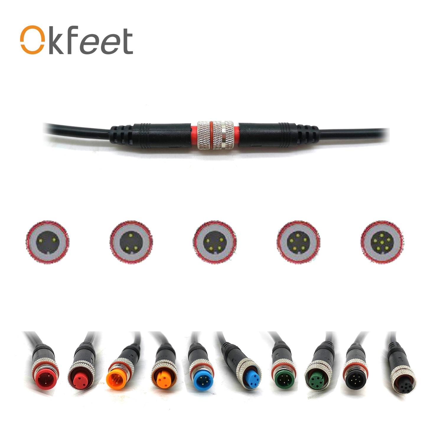 Okfeet Julet 2 3 4 5 6 Pin tornillo tipo pequeña potencia conector impermeable con estilo de enchufe recto