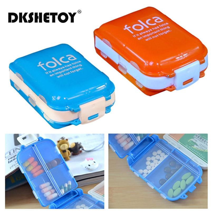 Draagbare Vouwen Pil Case Geneeskunde Drug Pillen Drugs Capsule Tablet Container Boxs Plastic Lege Drug Organizer Bunker Gevallen