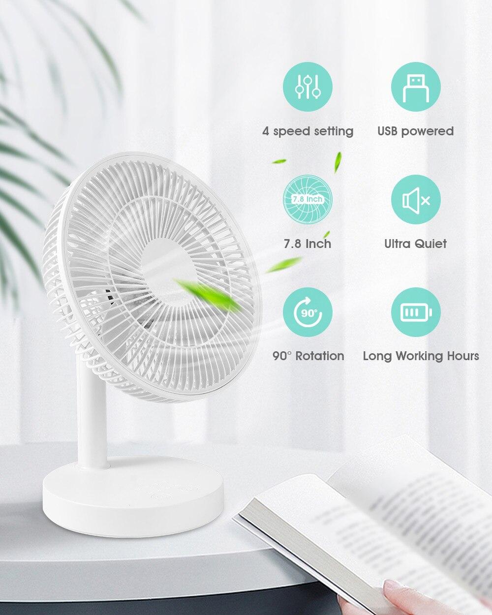 Настольный мини-вентилятор KASYDoFF с функциями охлаждение, охлаждение, портативный, USB, для дома, офиса, спальни, 4 скорости