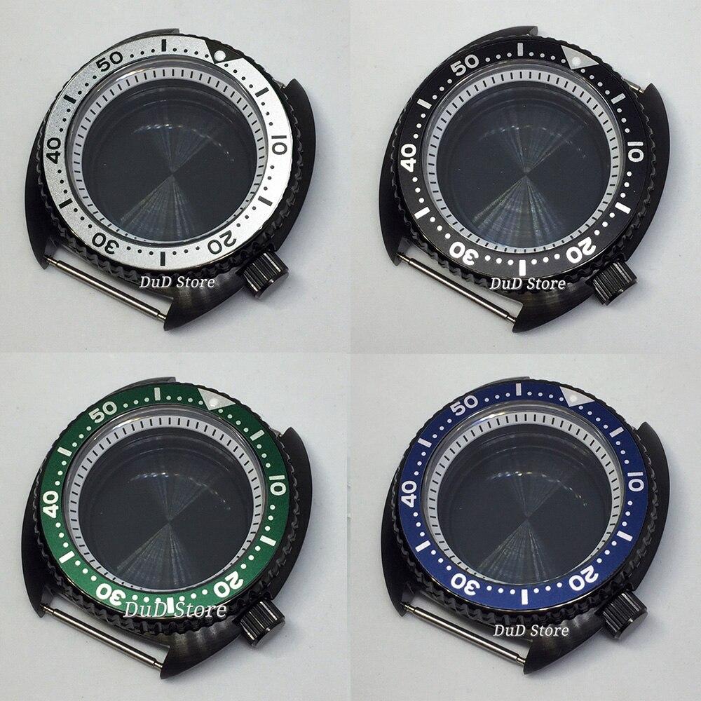Case para Japão Interna de Vidro Bliger Preto Assista Nh35 Nh36 Movimento Branco Moldura Safira Unidirecional Rotativo Bezel 45mm Pvd
