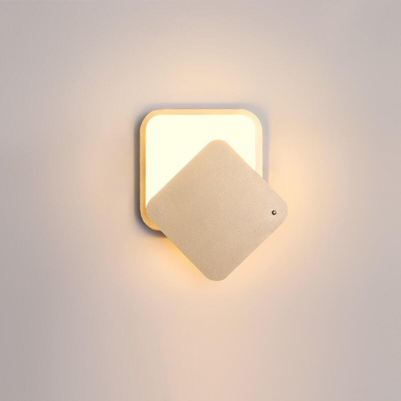 Nordic Modern Minimalist Iron Art Rotatable Geometric Wall Lamp Bedroom Living Room Study Bedside Lamp Led Acrylic Lighting
