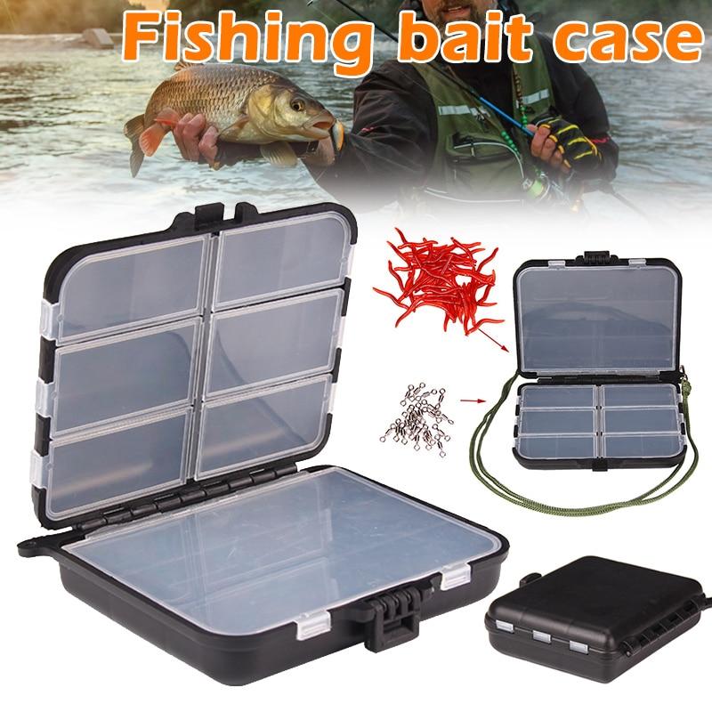 Caja plástica para pesca cebo señuelos ganchos estuche para almacenamiento portátil señuelo de pesca caja de almacenamiento accesorios de pesca para exteriores xr-hot