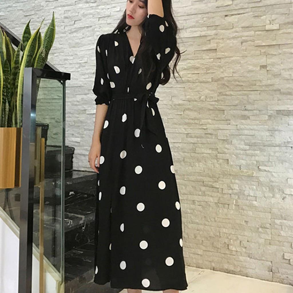 &35 Women Plus Size Dress Fashion Bandage V-Neck Knee Length Short Sleeve Wave Point Dress Vestidos Verano 2019 Mujer Long Dress