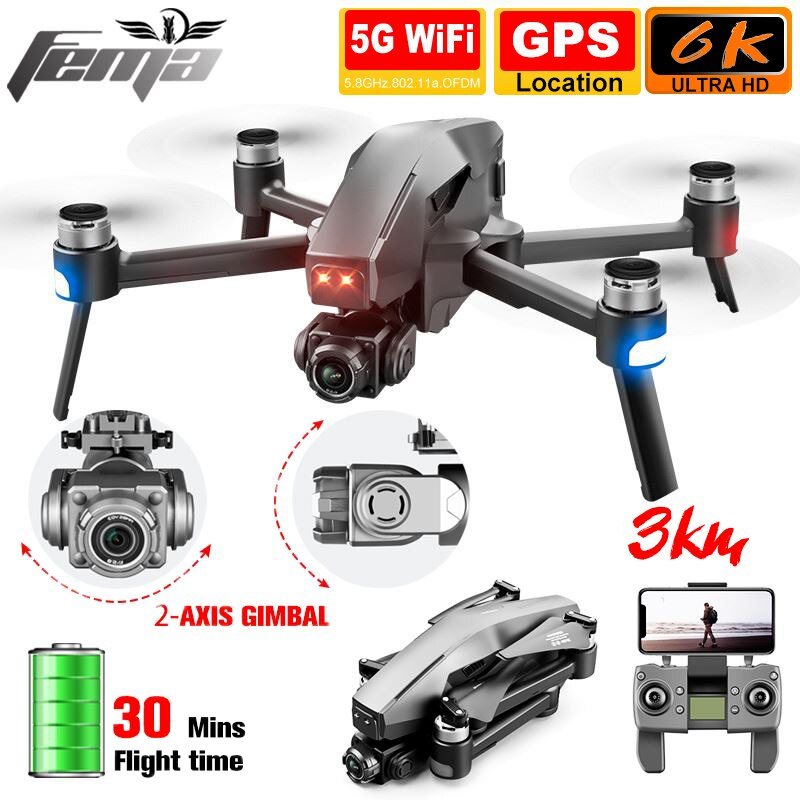 3 كجم المهنية كاميرا ذات محورين طائرات بدون طيار 6K 4K لتحديد المواقع لمسافات طويلة 5G واي فاي FPV فرش 28 دقيقة الاستقرار الذاتي كوادكوبتر درون