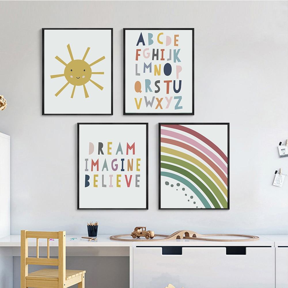 Póster de lona de arcoíris solar, pintura artística del alfabeto ABC, pinturas...
