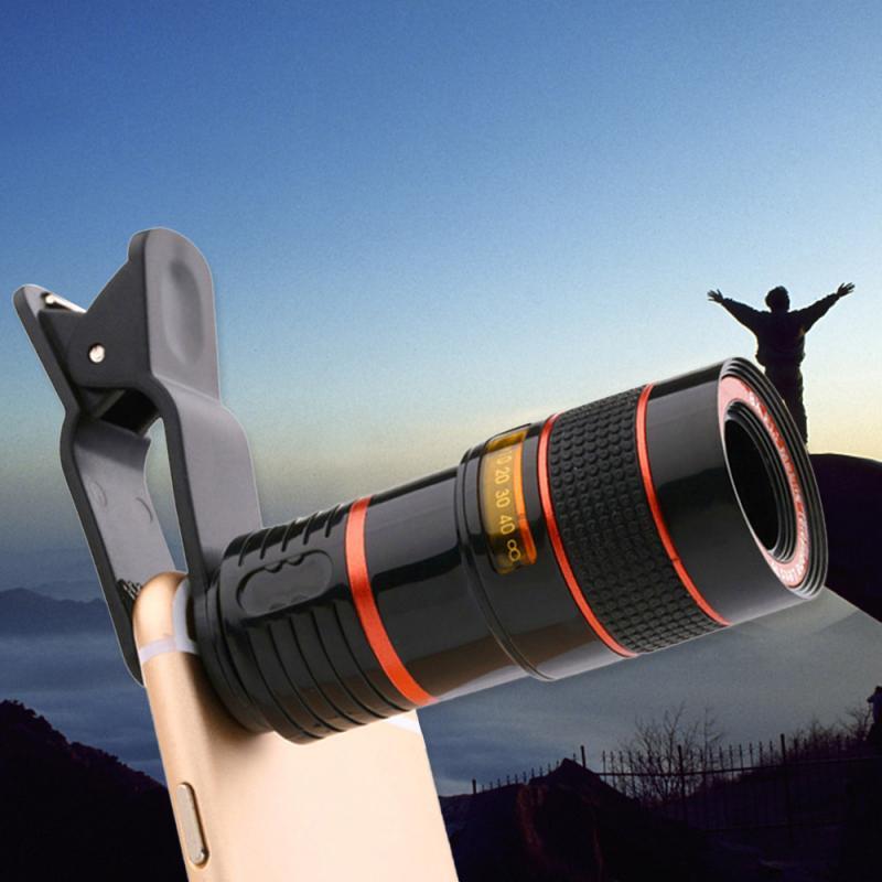 12X تلسكوب التكبير البصرية الخارجية عدسة الهاتف المحمول المقربة ماكرو عدسات الكاميرا العالمية مع كليب آيفون شاومي هواوي