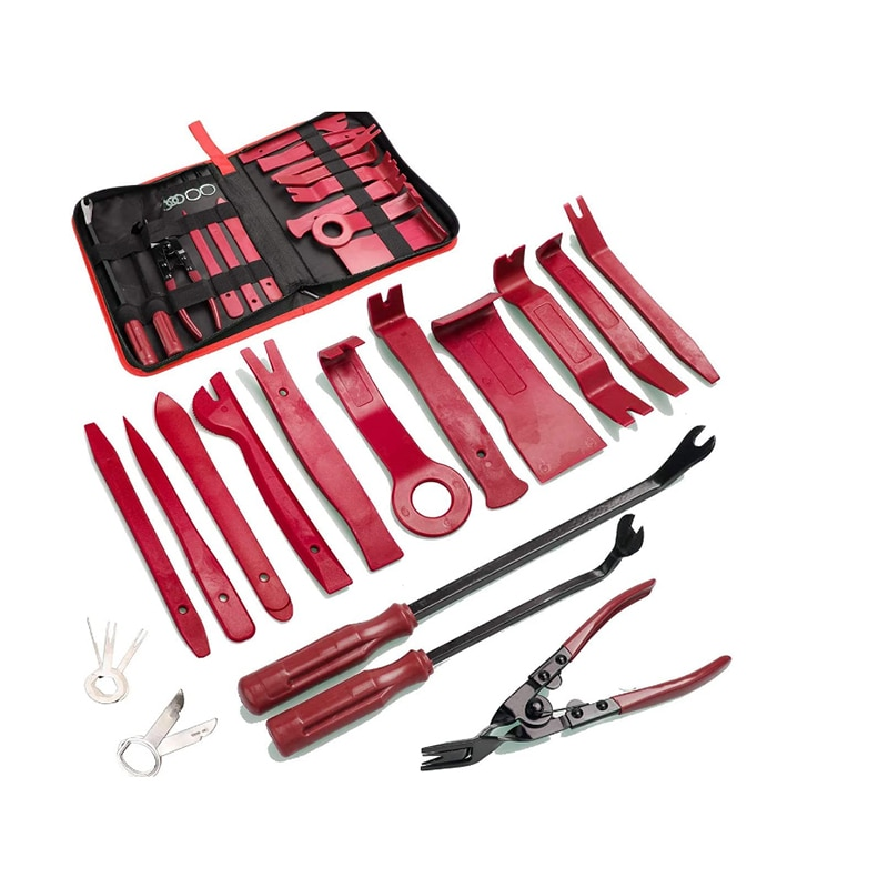 19Pcs Set Upholstery Car Panel Door Audio Trim Removal Tool Kit Auto Clip Pliers Fastener Remover Pry Tool Set with Storage Bag