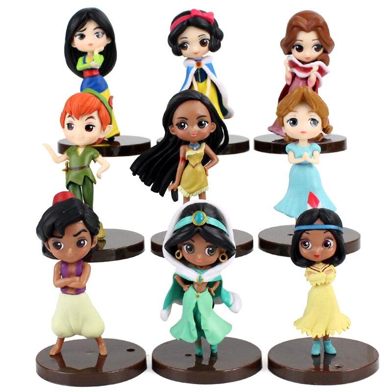 Q Posket Prinzessinnen Schnee Weiß Belle Aladdin Pocahontas Tiger Lilie Peter Pan PVC Figuren Spielzeug 9 teile/satz