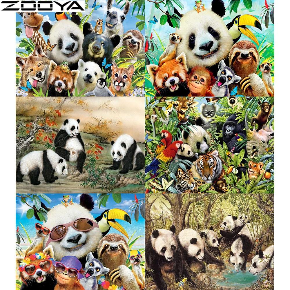 ZOOYA Full Drill Square 5D Diamond Painting Animal Panda Diamond Embroidery Full Set Diamond Mosaic Sale Home Decoration   ZH059