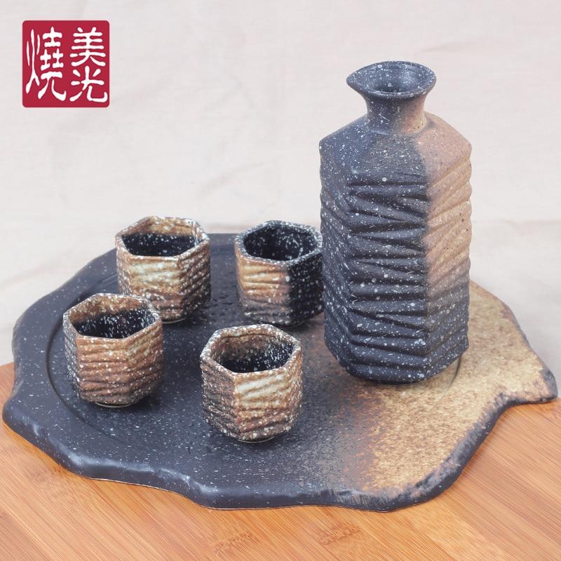 Taza de cerámica japonesa para vino, bandeja para botella de vino chino, porcelana para el hogar, restaurante, cerámica antigua en bruto, juego de vino