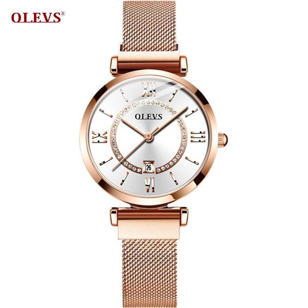 Relojes de acero inoxidable de lujo para mujer, relojes de pulsera de oro rosa para mujer, relojes impermeables de diamantes, para regalo de esposa, relojes femeninos