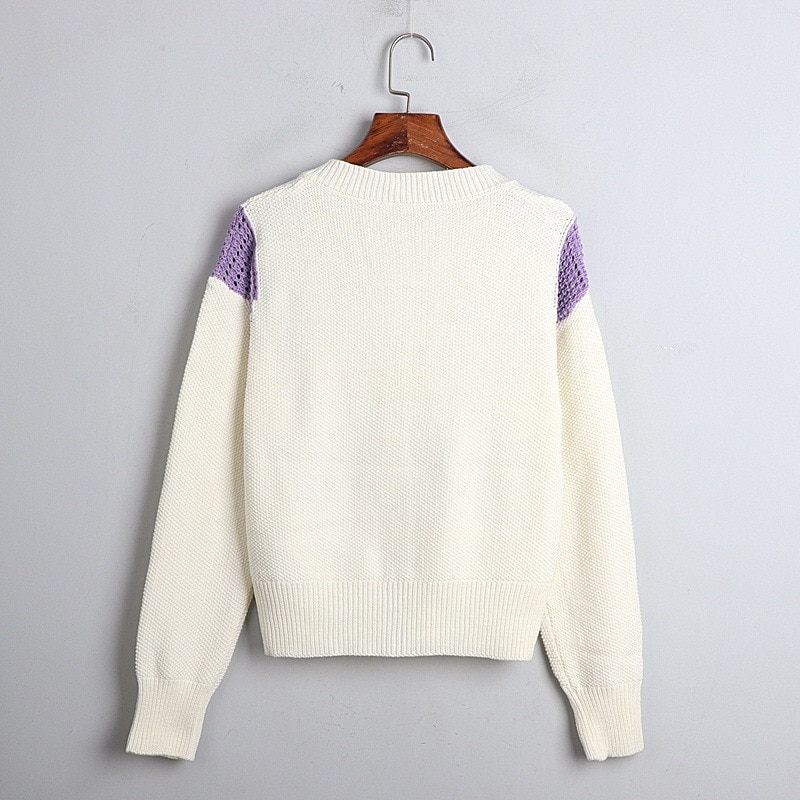 Women Knitted Cardigan Crop Top 2020 Autumn Winter Butterfly Embroidery White Cardigan Round Neck Short Sweater Coat enlarge