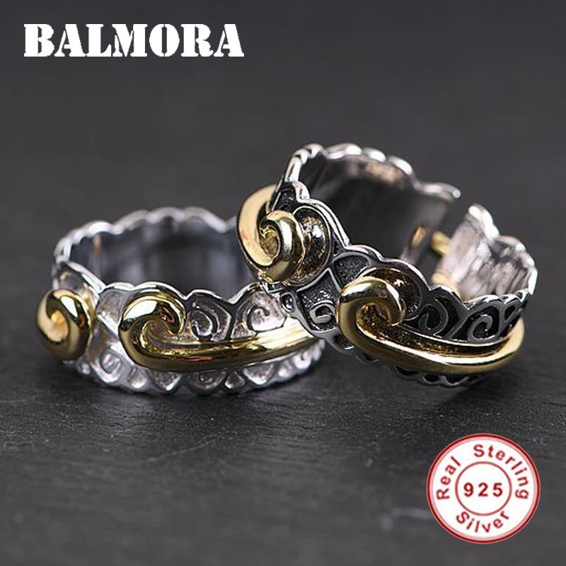 Balmora 1 peça 925 prata esterlina aperto feitiço aberto anéis para mulheres senhora amante presente retro moda jóias anillos