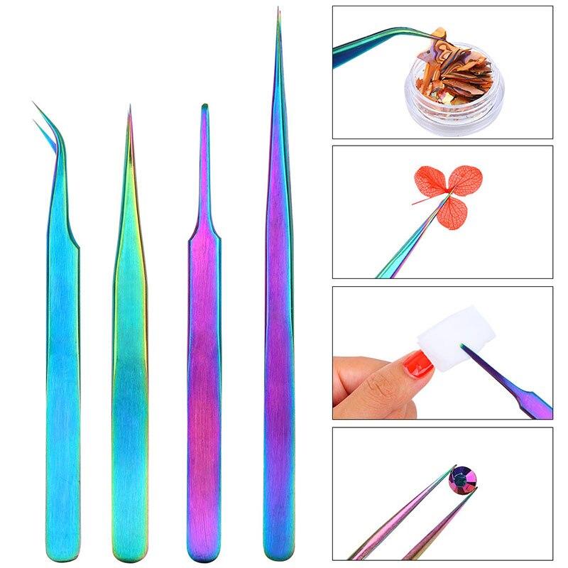 1 Uds pinzas de acero inoxidable para decoración de uñas Arco Iris Color pinza curva recta manicura pinzas para bricolaje herramientas de maquillaje