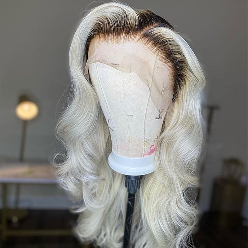 Ombre 1B/613 Blonde Body Wave Lace Front Wigs Brazilian Lace Frontal Human Hair Wigs Pre-plucked With Baby Hair