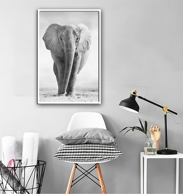 Black And White Animals tiger lion Wall Art Canvas Painting Poster and Prints Wall Picture for Living Room Decoration Home Decor 6