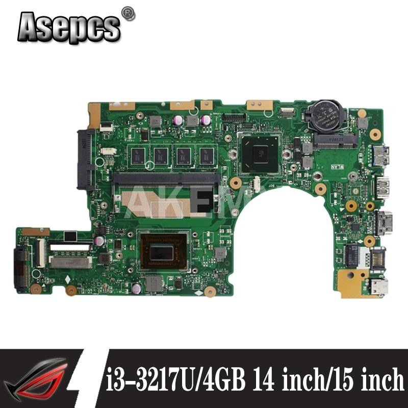 S400CA REV2.1/3.1 اللوحة الأم 4GB-RAM i3-3217U SR0N9 اللوحة الرئيسية لشركة آسوس S500CA S500C S400CA اللوحة الأم للكمبيوتر المحمول اللوحة الرئيسية اختبارها