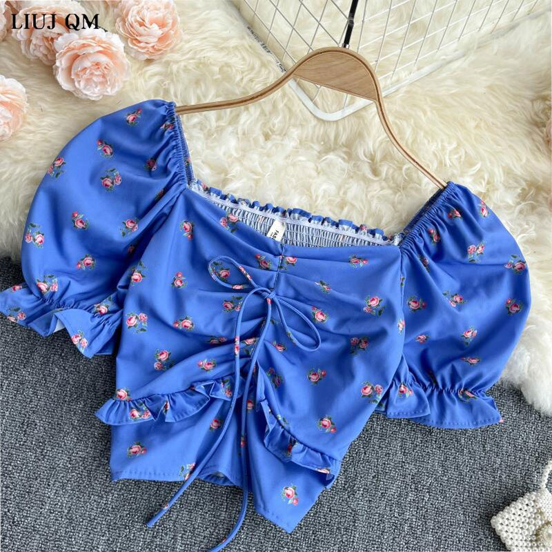 Summer Blouses 2021 Vintage Fashion Printed V-neck Puff Sleeves Wooden Ears Design Short Chiffon Shirt Blouse Women Flower Tops