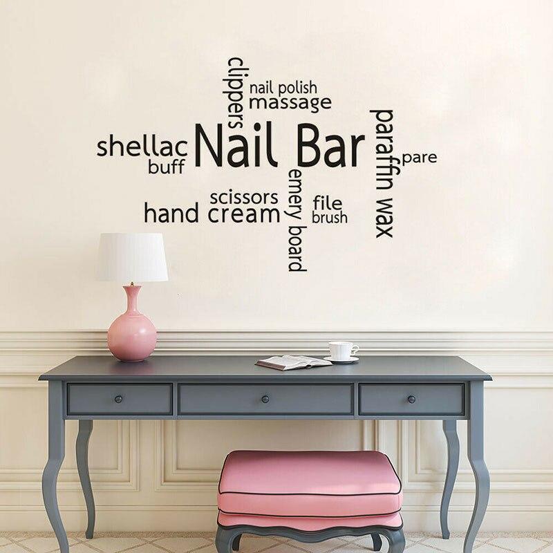 Nail Bar Words Wall Sticker Vinyl Nail Salon Makeup Shop Texts Sign Window Decals Removable Wallpaper Care Service Murals 3A46