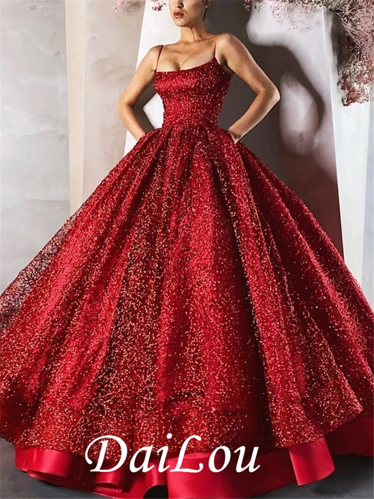 Ball Gown Luxurious Sparkle Engagement Formal Evening Spaghetti Strap Sleeveless Floor Length Satin with Sequin Tier 2021