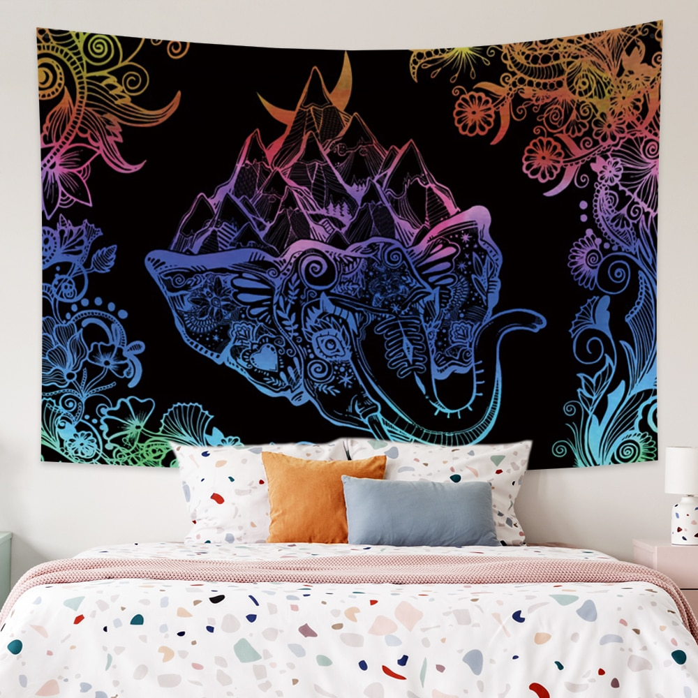Laeacco Mysterious Pattern Tapestry Bohemian Wall Hanging Witchcraft Wall Colth Hippie Carpets Dorm Decor Psychedelic psychedelic brick dorm decor wall hanging tapestry