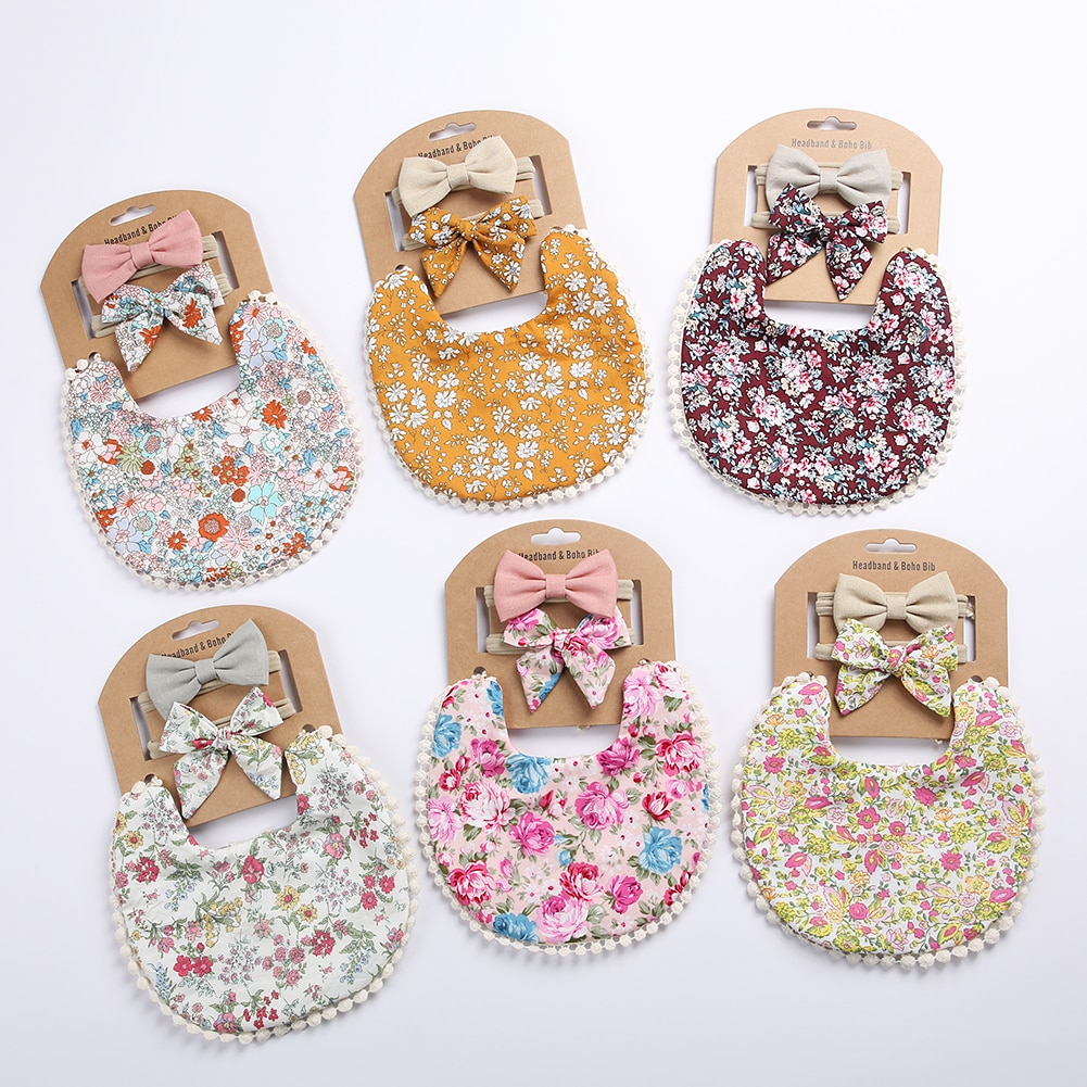3Pcs Baby Headband Tassel Saliva Towel Floral Print Newborn Double Side Bibs Boys Girls Bandana Burp Cloths Feeding Smock Stuff