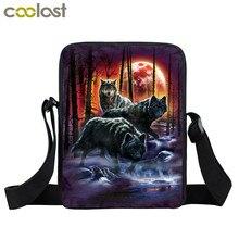 Cool Moon และ Howling Wolf พิมพ์กระเป๋าสะพายกระเป๋าถือผู้หญิงผู้หญิง Crossbody กระเป๋าผู้ใหญ่กระเป๋าหนังสือนั...
