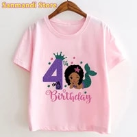 2021 hot sale pink t shirt black girl princess 4th birthday gift tshirt childrens clothing kawaii mermaid kids clothes t shirt